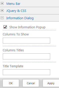 PopUp Configuration Options